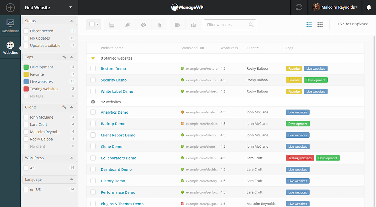ManageWP - screenshot 1
