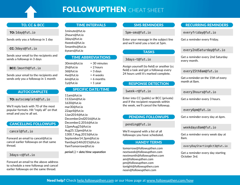 FollowUpThen - cheat sheet