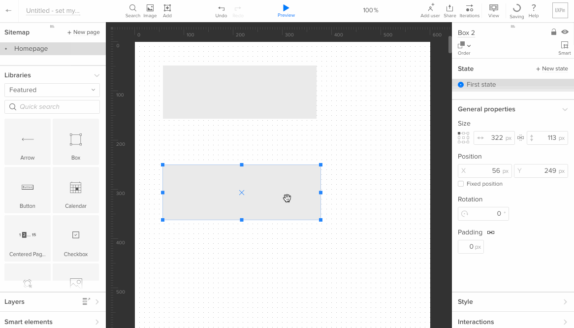 UX Pin - zrzut ekranu 1