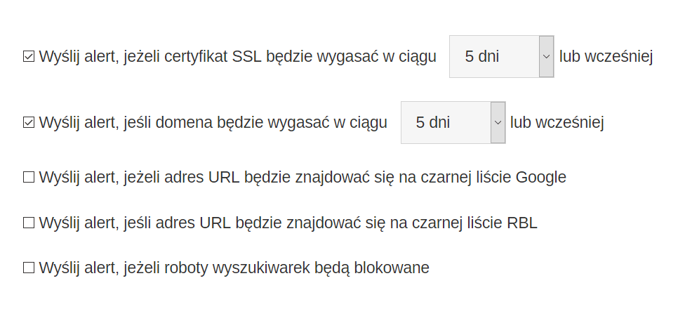 monitorowanie domeny i certyfikatu SSL